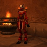 My Flaming Ruby Guild set - designed around the tabard. A proper mix, sadly not moggable.