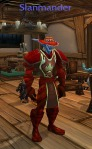 Mog: If you can rock the Stylin' Crimson Hat the way Slanmander is, you should! The armory shows he has a matching bow too - Skyfire Hawk-Bow. Love it.